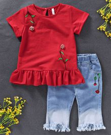 Kai Kai Flower Applique Top And Pant Set - Red & Blue