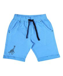 Parrot Crow Giraffe Printed Shorts - Blue