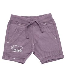 Parrot Crow Animal Printed Shorts - Purple