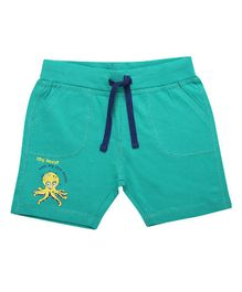 Parrot Crow Octopus Print Shorts - Green