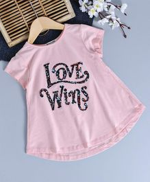 Memory Life Love Wins Print Sequined Top - Pink