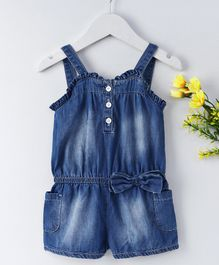 UKY Kids Denim Washed Dungaree - Blue