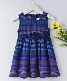 Little Marie Multi Stripe Printed Dress - Navy Blue