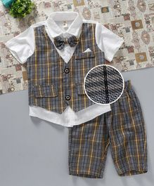 Kookie Kids Shirt With Attached Jackets & Shorts Set - Grey & Yellow