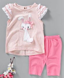 Pretty Kibo Rabbit Applique Top And Bottom Set - Pink