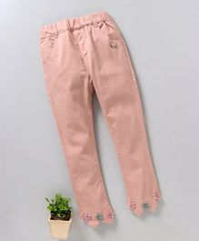 UKY Kids Solid Print Pant With Metallic Bow - Peach