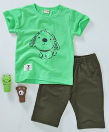 Hao Hao Cute Dog Print T-Shirt & Shorts Set - Green & Brown