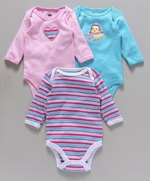 Hudson Baby Cartoon Printed 3 Piece Baby Rompers - Pink & Blue