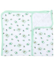 Tinycare Baby Towel With Teddy Print - Green