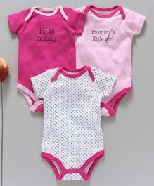 Luvable Friends Printed Pack Of 3 Onesies - Pink