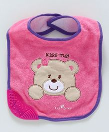 1st Step Bib Teddy Face Patch - Pink