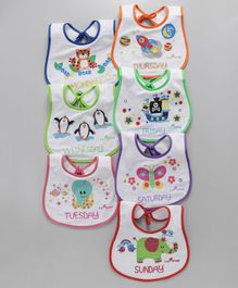 1st Step Weekdays Multiprint Bibs Pack of 7 - Multicolor White