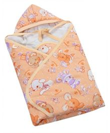 Tiny Care Hooded Wrapper - Light Orange