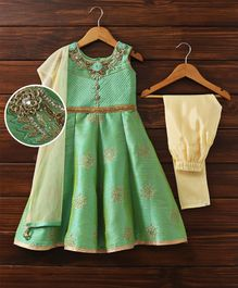 Babyhug Sleeveless Anarkali & Churidar With Dupatta - Mint Green