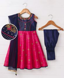 Babyhug Sleeveless Anarkali & Churidar With Dupatta - Navy & Pink
