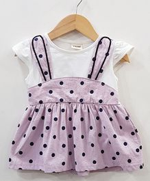 Aww Hunnie Polka Dot Printed Flare Dress - Purple
