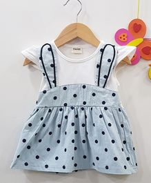 Aww Hunnie Polka Dot Printed Flare Dress - Blue