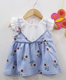 Aww Hunnie Sunflower Printed Frill Dress - Blue