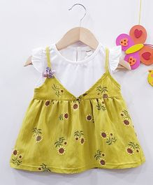 Aww Hunnie Sunflower Printed Frill Dress - Yellow