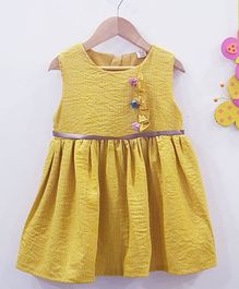 Aww Hunnie Solid Printed Dress - Yellow