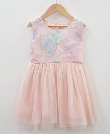 Aww Hunnie Embroidered Netted Dress - Pink