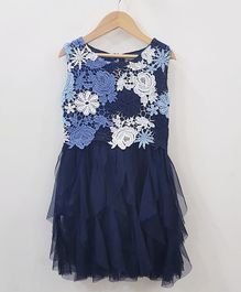 Aww Hunnie Lace Work Netted Dress - Blue