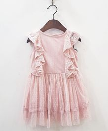 Aww Hunnie Netted Frilly Dress - Pink