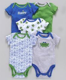 Luvable Friends Frog Print Pack Of 5 Onesies - Green