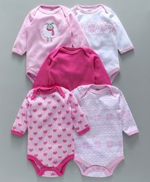 Luvable Friends Heart Print Pack Of 5 Onesies - Pink