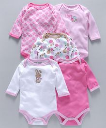 Luvable Friends Floral Print Pack Of 5 Onesies - Pink