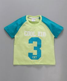 Taeko Half Raglan Sleeves Tee Cool Kid Print - Green