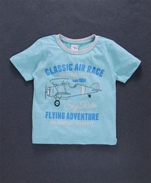 Taeko Half Sleeves Tee Flying Adventure Print - Light Blue