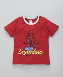 Taeko Half Sleeves Tee Legendary Print - Red