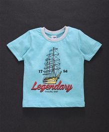 Taeko Half Sleeves Tee Legendary Print - Light Blue