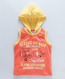Taeko Sleeveless Hooded Tee Flying Adventure - Orange Yellow