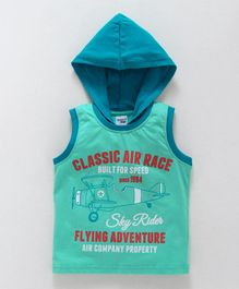 Taeko Sleeveless Hooded Tee Flying Adventure - Green Blue