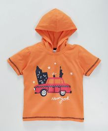 Taeko Half Sleeves Hooded Tee New York Print - Orange