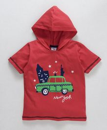 Taeko Half Sleeves Hooded Tee New York Print - Red
