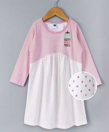 Teddy Full Sleeves Nighty Ice Cream Month Print - White Pink