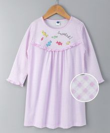 Teddy Full Sleeves Checks Nighty - Pink