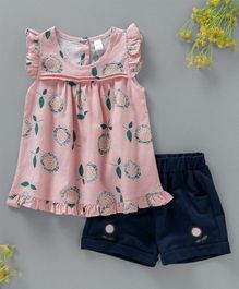 Hao Hao Flowers & Leaves Print Top & Shorts - Pink & Navy