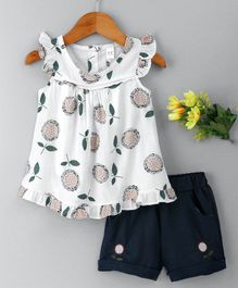 Hao Hao Flowers & Leaves Print Top & Shorts - White & Navy
