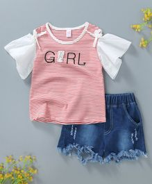 Hao Hao Striped Design Girl Printed Top with Shorts - Red & Blue