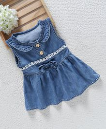 Baby Pep Denim Dress With Lace - Blue