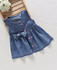 Baby Pep Denim Dress With Bow - Blue