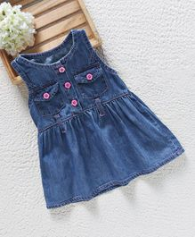 Baby Pep Denim Dress With Front Pockets - Blue
