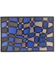 Athom Trendz Premium Digital Printed Anti Slip Door Mat - Blue