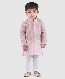 Babyhug Full Sleeves Embroidered Kurta With Pajama - Green White