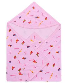 Tinycare Hooded Baby Towel Fish Print - Pink