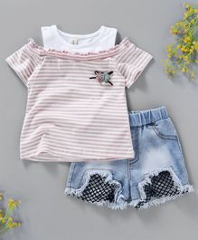 Hao Hao Striped Top & Shorts - Pink & Blue